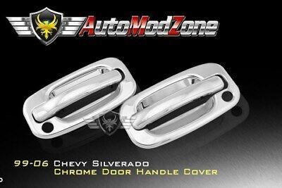 99-06 Chevy Silverado Chrome 2 Door Handle Covers Cover w/ PSG Keyhole 06 Chrome Door Handle Covers