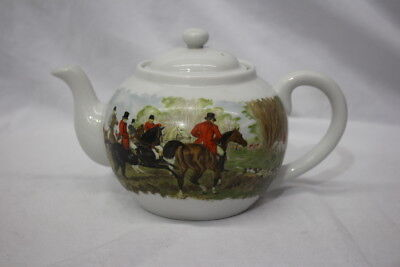"""3pc House of Prill Porcelain HUNT Scene 5"""" Collectible Teapot w/Lid & Strainer"""