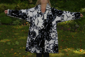 Ladies Medium Faux Fur Coat with Black & White Clocks