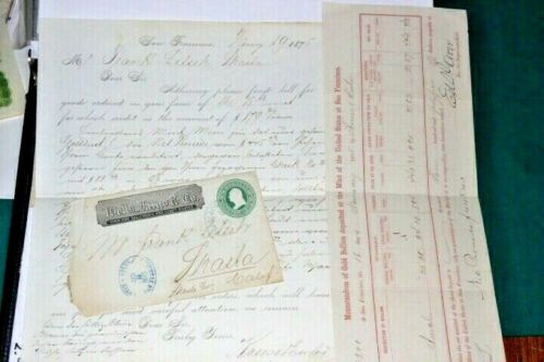 #S212,Wells Fargo Cover,Letter, & Memorandum Shasta Gold Deposits,1875 Rare