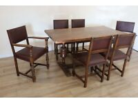 Period Carved Oak Dining Table and 6 Leather Chairs