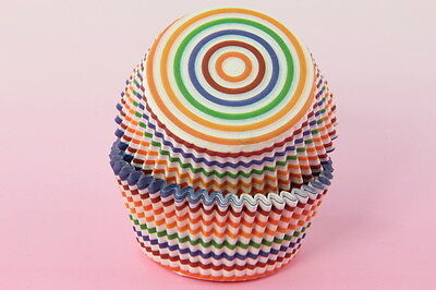 100x, 2'' Cupcake Liners, Baking Cups, Rainbow Stripe, Standard Size Stripes Standard Baking Cups