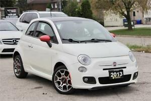 2013 Fiat 500 Sport - White On Red - Sunroof - Certified