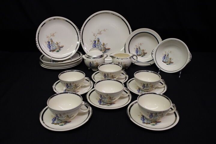 24pc Paden City Shell Krest FAR EAST Asian Pattern 39 Tea/Dessert Set for 6, USA