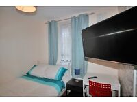 Nice double room at Bromley By Bow station. LOW DEPOSIT, FREE CLEANING, LCD TV, MINI FRIDGE