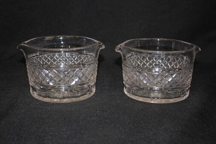 Pair Mid-19th Century Anglo Irish English Regency Cut Glass Crystal Wine Rinsers