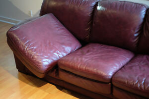 Beautiful burgundy leather couch