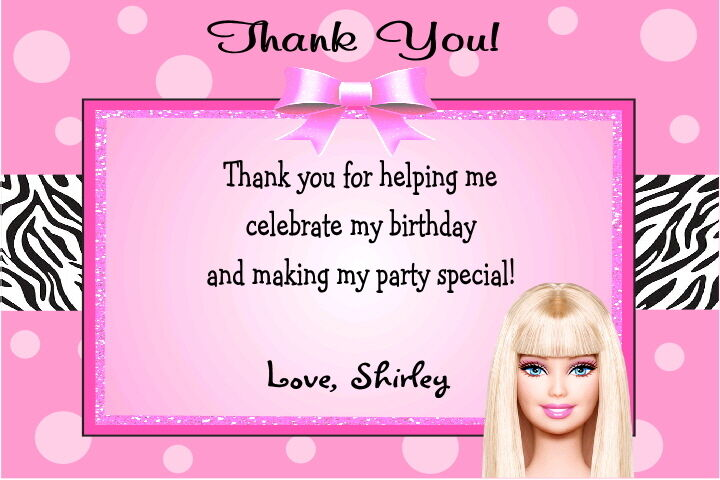 Barbie Pink Custom Printable Photo Birthday Party Invitation Thank