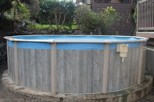 15ft Round Above Ground Pool with Heater, Pump, Sand Filter.