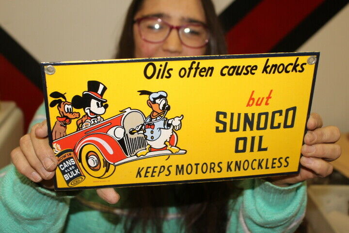Sunoco Motor Oil Mickey Mouse Donald Duck Gas Station Porcelain Metal Sign - $123.50