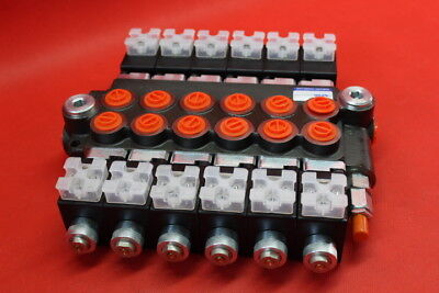 HYDRAULIC BANK MOTOR 6 SPOOL VALVES 50L/MIN ELECTRIC 12V