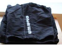 Black Umbro Long Short UK Size L, Stitched Logo