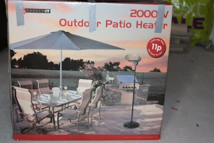 Garden Outdoor Quartz 2000W Electric Patio Heater Free Standing BBQ - Connect-It