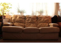 Super comfy 3 seater cream Leather sofa £30 ONO
