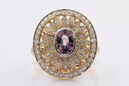 18ct yellow gold 1.03ct sapphire & 0.83cts F/SI diamond ring