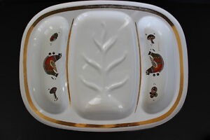 Georges-Briard-White-Enamel-Large-Metal-Meat-Tray-Coq-D-039-or-Pattern-MId-Century
