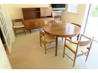 Teak effect highboard sideboard, circular extending table & six chairs
