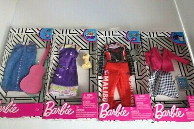 Lot of 4 Barbie Clothes Genuine Dog Groomer Career Race Car Driver Musician