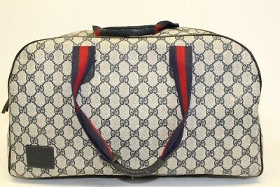 Gucci Vintage Signature Monogram Duffle Travel Overnight Bag A4U Authenticated