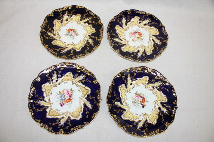 """Set of 4 Antique Coalport 9"""" Reticulated Black and Gold Painted Plates Pre-1840"""