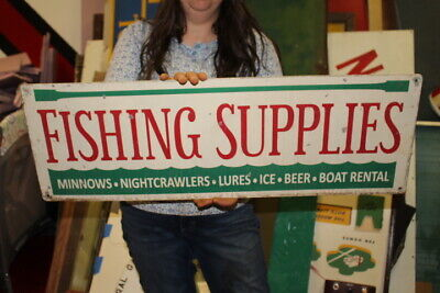 "Vintage Fishing Supplies Worms Minnows Bait Lure Beer Gas Oil 32"" Metal Sign"
