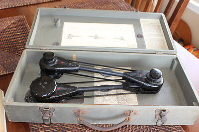 """Vintage Vemco Drafting Machine w/ 12"""" & 18""""  Vemco Scales and Wood Box"""