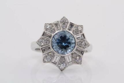 18ct white gold 1.47ct aquamarine & 0.74cts F-G/SI diamond ring