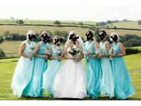 Six bridesmaid dresses in good condition, two different shades of mint