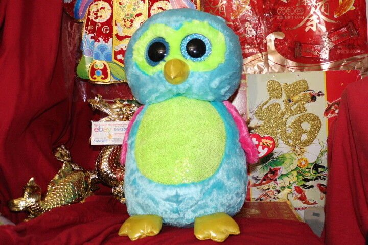 """TY BEANIE BOOS JUMBO OPAL THE OWL 16"""".JUSTICE EXCLUSIVE.2013"""