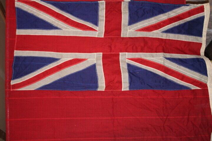 "Vintage British RED ENSIGN Merchant Marine Cloth Flag 108"" X 52"" 1930s(170)"