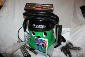Boxed Numatic George Wet and Dry carpet cleaner with all accessories and tools. As new