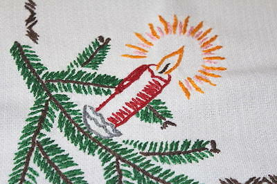 CHRISTMAS CANDLES & STAR OF CHRIST! VINTAGE HAND EMBROIDERED TABLECLOTH