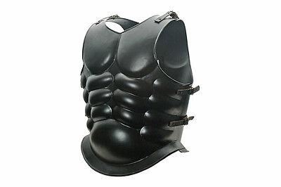 Black 18 Gauge Steel Roman Greek Muscular Muscle Armor Cuirass Breastplate