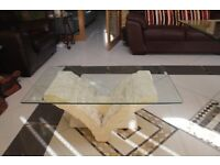 Coffee table stone and glass