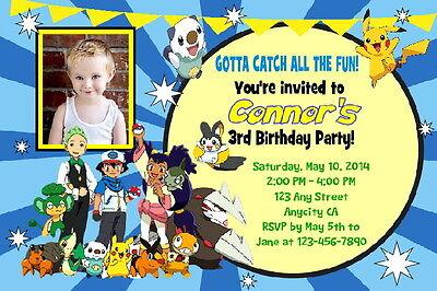 CUSTOM POKEMON BIRTHDAY PARTY INVITATION & FREE THANK U CARD - U PRINT