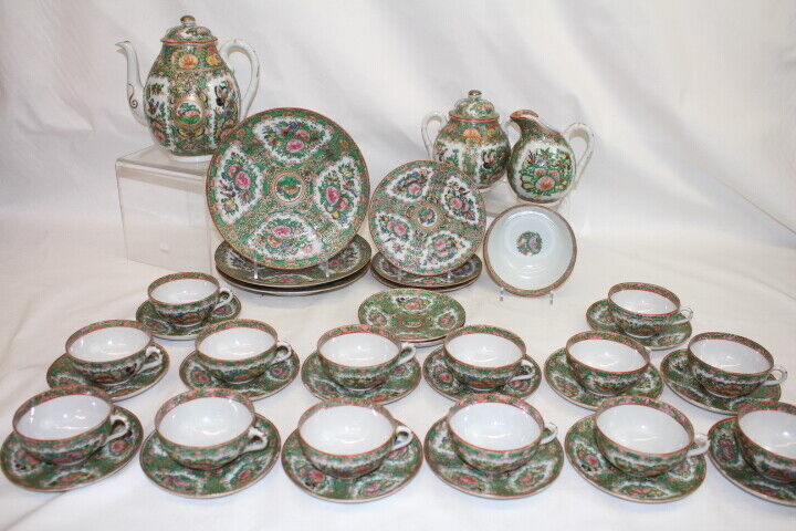 42 Pc Set Antique Chinese Rose Medallion Tea Service for 14; C. 1900   (48)