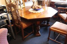 VERY OLD OAK OCTAGONAL DINING TABLE AND 4 CHAIRS