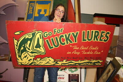 "Large Vintage Lucky Lures Fishing Bait Rod Reel Gas Oil 48"" Metal Sign"