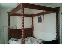 Good quality pine four poster bed and double wardrobes