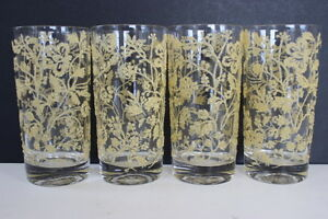 Vintage-Set-of-4-Beige-Queen-Anne-039-s-Lace-Textured-Pattern-Tall-Drinking-Glasses