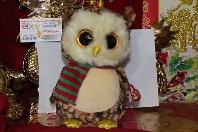 "TY BEANIE BOOS WISE THE CHRISTMAS OWL-9"".MEDIUM BUDDY.MWNMT-2015-NICE GIFT"