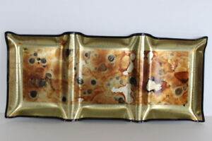 Vintage-Georges-Briard-Plastic-3-Section-Serving-Rectangular-Tray-Gold-Foil