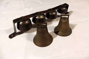 Vintage Wagon Bells with Belt Loop & cast iron bells w/Clappers