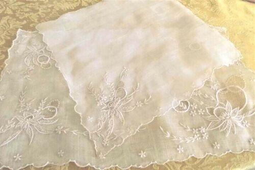 Antique Hand Embroidered Silk Placemats & Napkins 8 pc Set Beige EUC