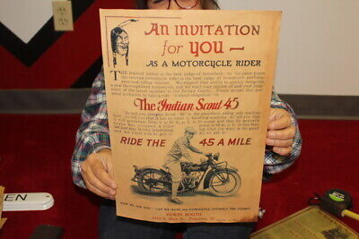 Vintage 1920's Indian Scout 45 Motorcycle Dealership Gas Oil Sign