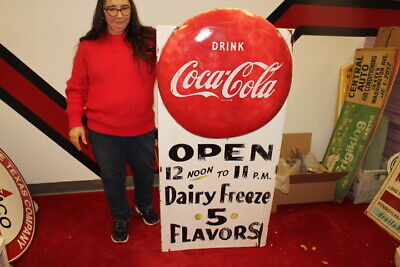 "Large Rare Vintage 1951 Coca Cola Dairy Freeze Soda Pop 51"" Metal Button Sign"