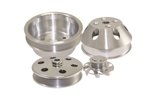 Small-Block-Chevy-350-Long-Water-Pump-Serpentine-Billet-Aluminum-Pulley-Kit-Set