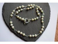 Genuine Freshwater Cultured Pearl and Zambian Emerald Rosary Linked Silver Plated Necklace