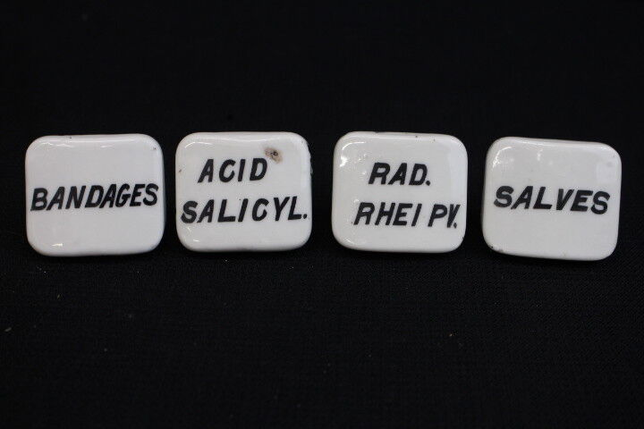 4 Antique White Porcelain Apothecary Drug General Store Labeled Drawer Pulls (C)
