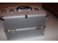 Silver metal cantilever fishing/tool box. Ideal for carrying all your fishing bits.